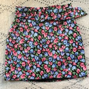 Zara Floral Skirt with Belt Size Small